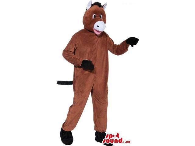 Customised Cute Brown Donkey Plush Canadian SpotSound Mascot With A White Belly