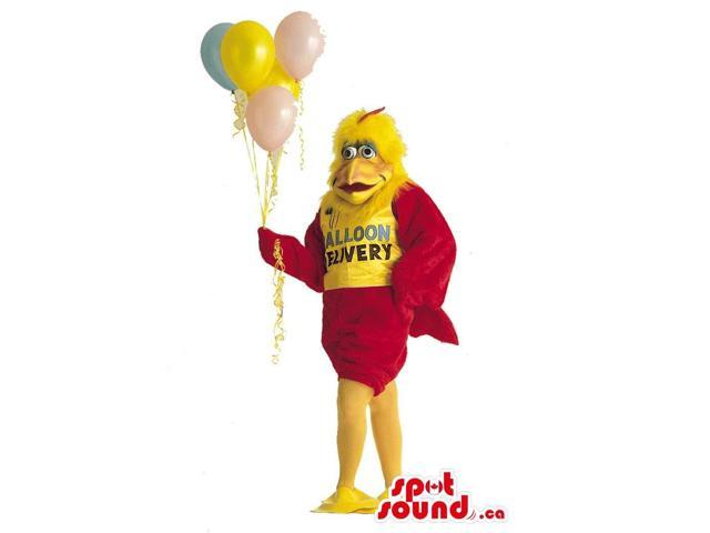 Chicken Plush Canadian SpotSound Mascot Dressed In T-Shirt With Text And Balloons