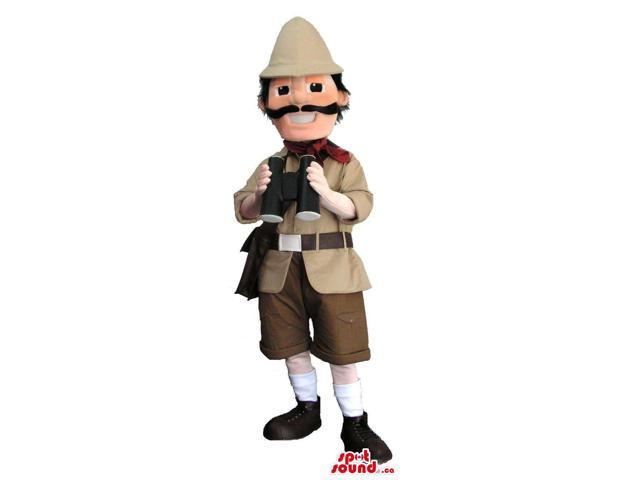 Human Canadian SpotSound Mascot Dressed In A Explorer O Hunter Clothes With Binoculars