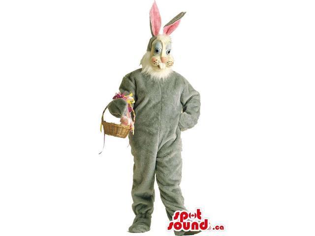 Customised Grey Rabbit Animal Plush Canadian SpotSound Mascot With Basket