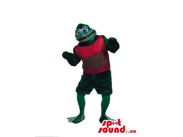 Frog Plush Canadian SpotSound Mascot Dressed In A Red T-Shirt With Text