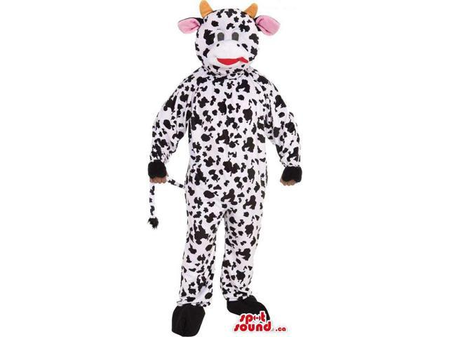 Customised Cute White And Black Cow Plush Canadian SpotSound Mascot