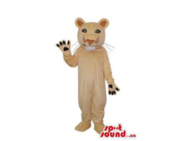 Cute Beige Wildcat Animal Plush Canadian SpotSound Mascot With Round Ears