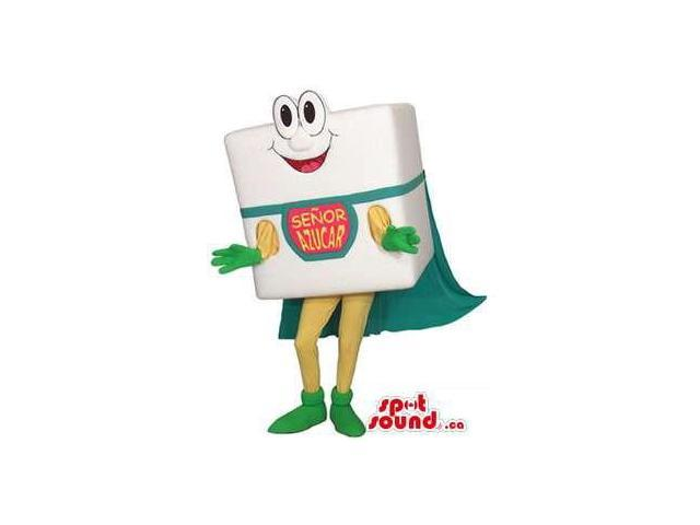Peculiar White Sugar Cube Canadian SpotSound Mascot With A Logo And A Super Hero Cape