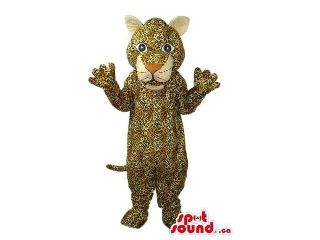 Cute Beige Wildcat Animal Plush Canadian SpotSound Mascot With A Pattern