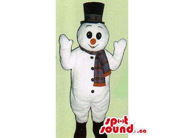 Snowman Canadian SpotSound Mascot Dressed In A Top Hat And A Winter Scarf