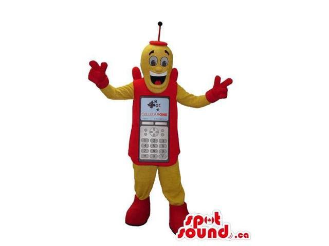 Peculiar Yellow And Orange Cellphone Character Plush Canadian SpotSound Mascot