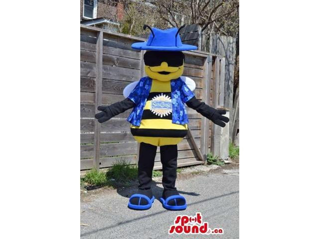 Bee Canadian SpotSound Mascot With Logo Dressed In Blue Flashy Clothes And Sunglasses