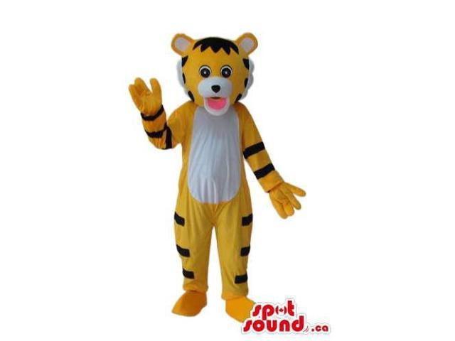 Cute Cartoon Yellow Tiger Plush Canadian SpotSound Mascot With A White Belly
