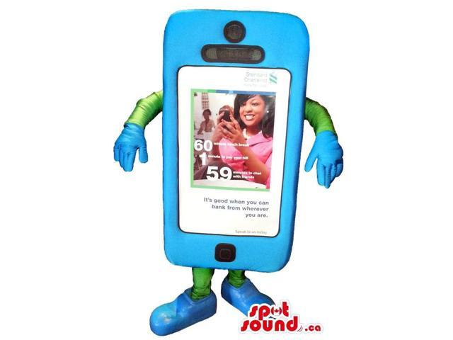 Blue And Green Peculiar Smartphone Plush Canadian SpotSound Mascot With No Face
