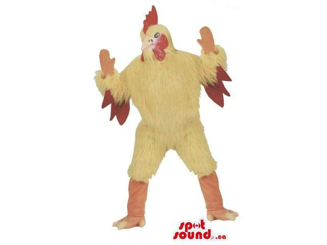 Customised Angry Yellow Chicken Plush Canadian SpotSound Mascot With Red Wings