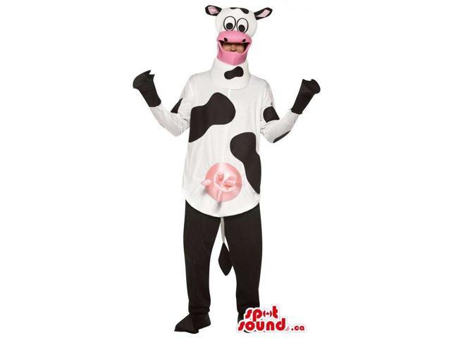 White And Black Cow Adult Size Plush Costume Or Canadian SpotSound Mascot