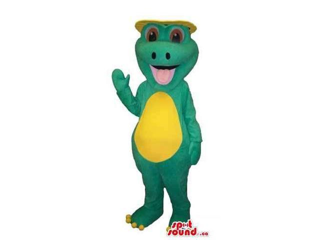Cute Green Alligator Plush Canadian SpotSound Mascot With A Yellow Belly And A Hat