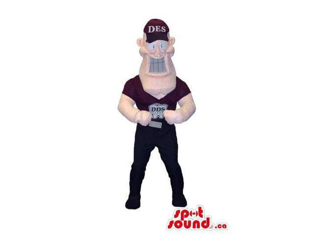 Human Character Caricature Canadian SpotSound Mascot Dressed In A Cap And Logo T-Shirt