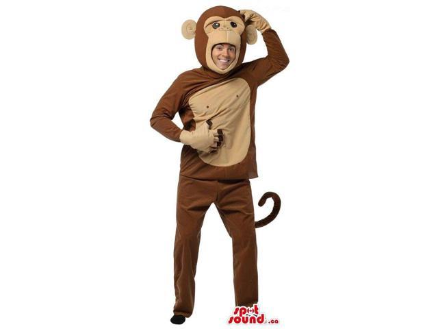 Brown And Beige Monkey Adult Size Plush Costume Or Canadian SpotSound Mascot