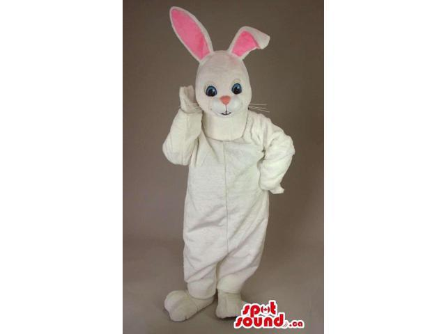 White Rabbit Canadian SpotSound Mascot With Long Pink Ears And Blue Eyes