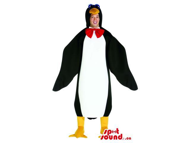 Great Large Penguin Adult Costume With A Red Bow Tie