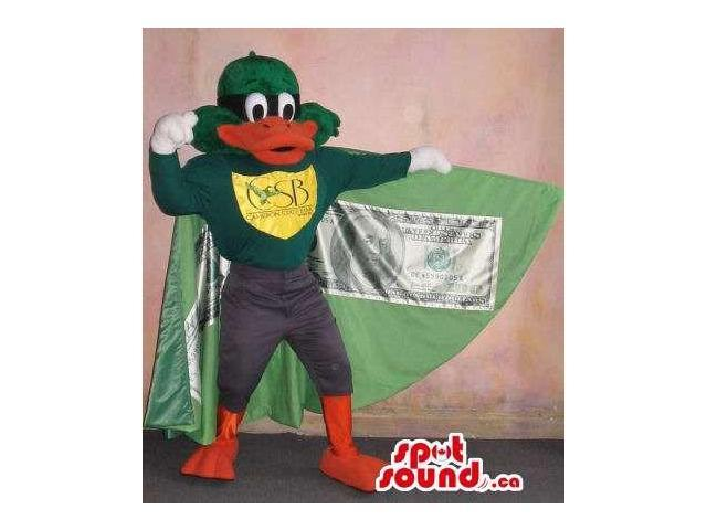Duck Plush Canadian SpotSound Mascot With A Logo Dressed In A Cape With A Dollar Bill