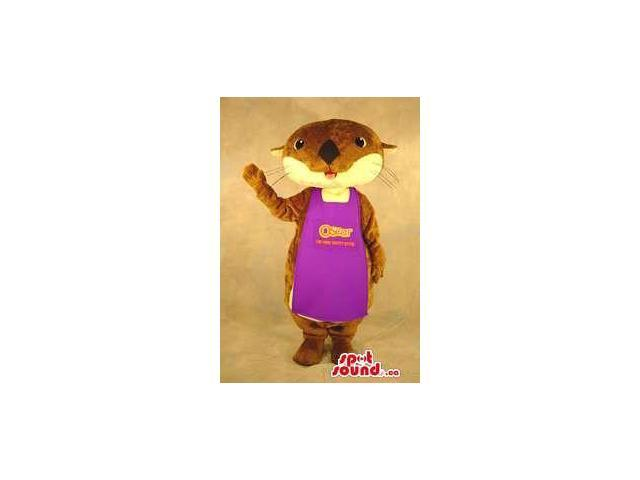 Otter Plush Canadian SpotSound Mascot Dressed In A Purple Apron With Text And Logo