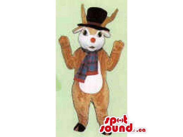 Reindeer Canadian SpotSound Mascot With A White Belly Dressed In A Scarf And Top Hat