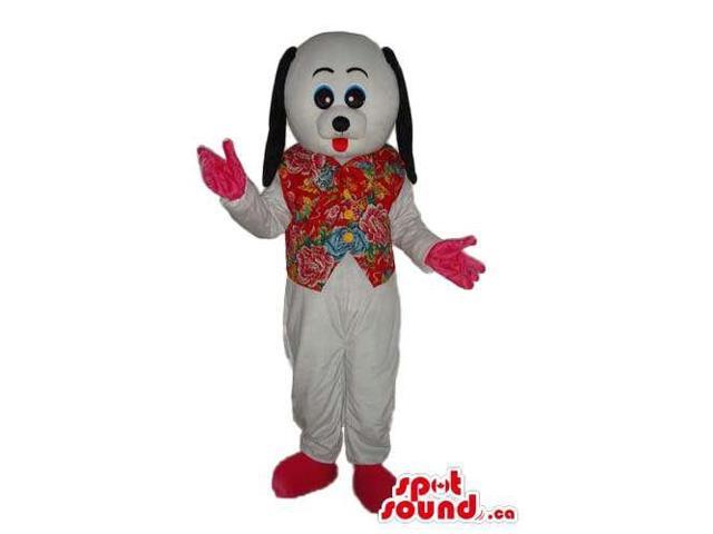 Cute Customised White Dog Canadian SpotSound Mascot Dressed In A Flowery Vest