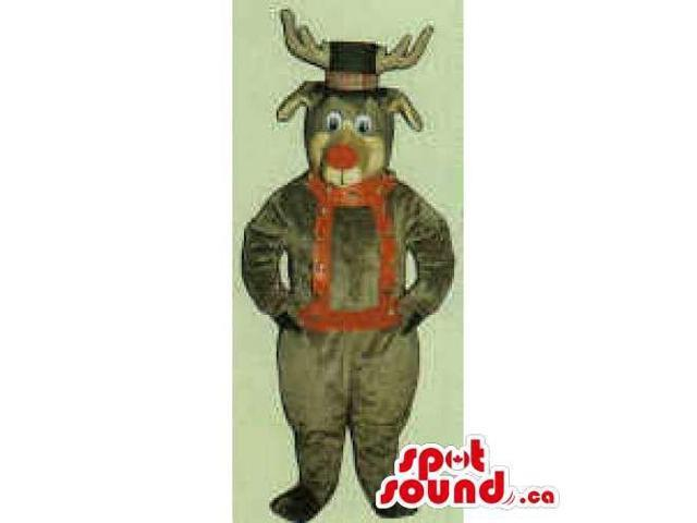 All Brown Reindeer Canadian SpotSound Mascot Dressed In A Top Hat And A Red Harness