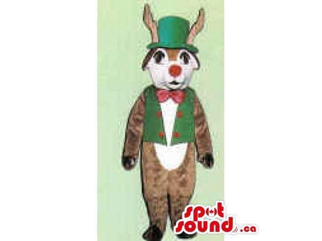 Reindeer Canadian SpotSound Mascot Dressed In A Top Hat, Vest And Bow Tie