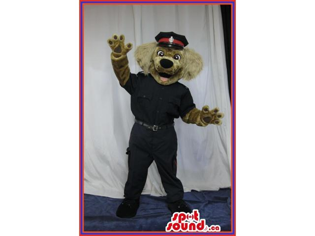 Brown Dog Plush Canadian SpotSound Mascot With Woolly Ears Dressed In A Police Uniform