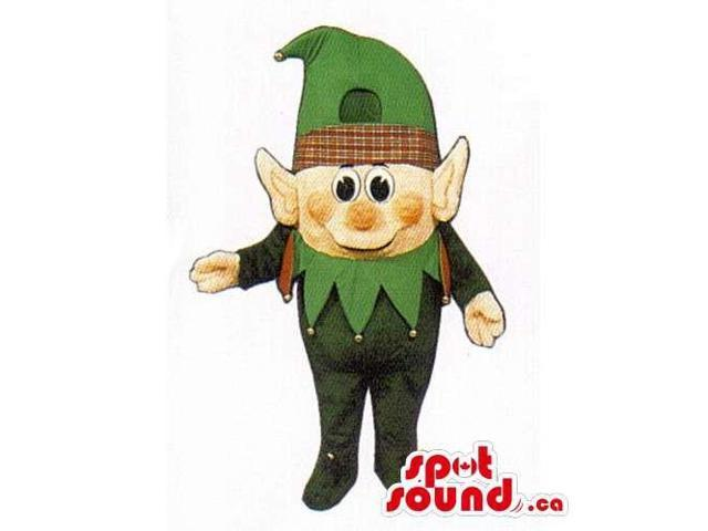 Small Dwarf Canadian SpotSound Mascot Dressed In Green Gear With Pointy Ears
