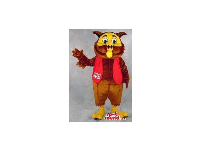 Brown And Yellow Owl Plush Canadian SpotSound Mascot Dressed In A Red Vest