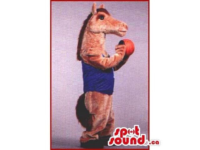 Brown Horse Animal Canadian SpotSound Mascot Dressed In A Blue Shirt With A Basket Ball