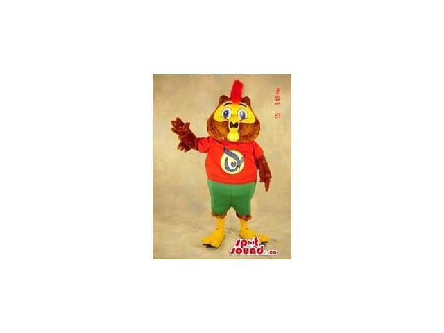 Brown Owl Plush Canadian SpotSound Mascot Dressed In A Red And Green Shorts