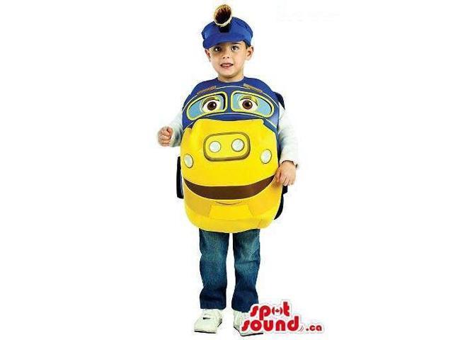 Cute Cartoon Blue And Yellow Train Children Size Costume