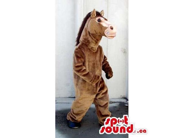 Customised All Brown Horse Animal Canadian SpotSound Mascot With A Beige Face