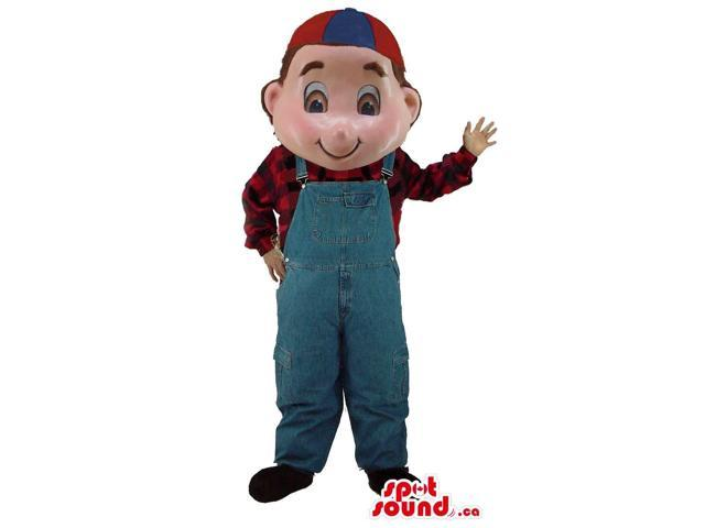 Boy Character Canadian SpotSound Mascot Dressed In A Checked Shirt, Overalls And A Cap