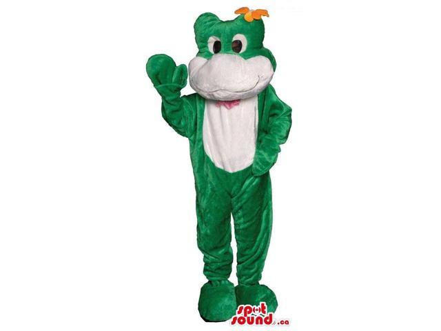 Customised Cute Green And White Frog Plush Canadian SpotSound Mascot With A Flower