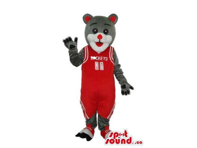 Grey Bear Plush Canadian SpotSound Mascot Dressed In Red Basketball Clothes