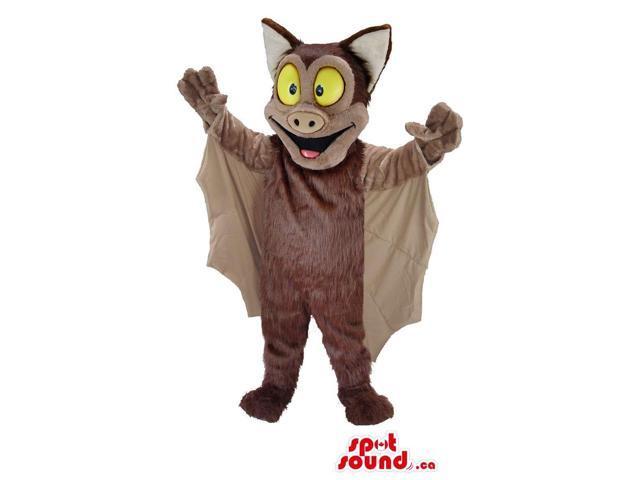 Brown Bat Animal Plush Canadian SpotSound Mascot With Large Yellow Eyes