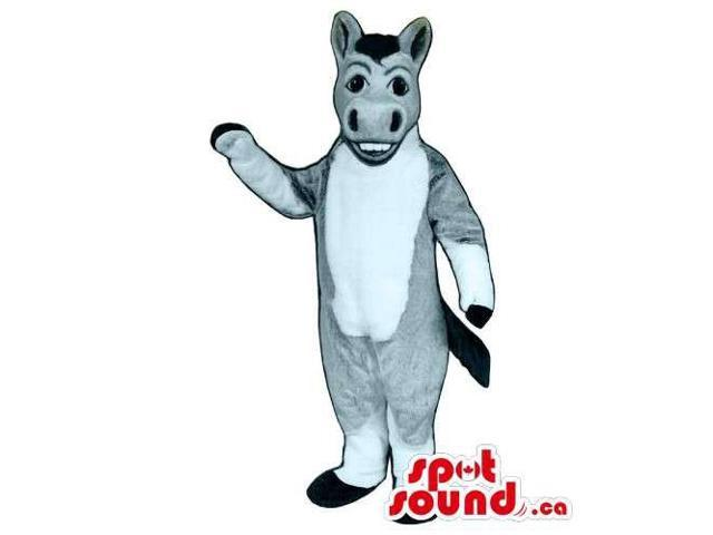 Customised Grey Donkey Canadian SpotSound Mascot With A White Belly Showing Teeth