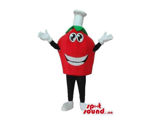 Happy Face Red Tomato Plush Canadian SpotSound Mascot With A Chef Hat