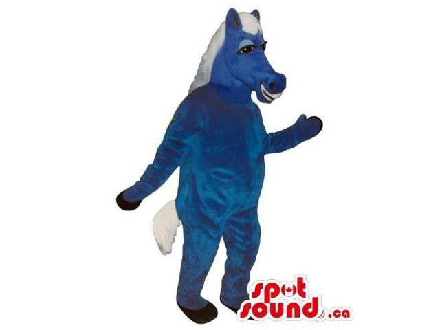 All Blue Donkey Canadian SpotSound Mascot With White Hair With Peculiar Smile