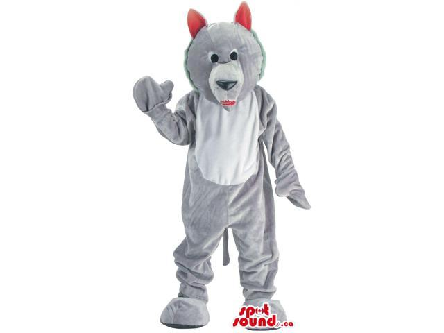 Customised Cute Grey Wolf Plush Canadian SpotSound Mascot With Red Ears