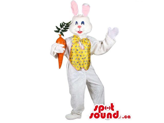 White Rabbit Plush Canadian SpotSound Mascot In A Yellow Vest With A Large Carrot