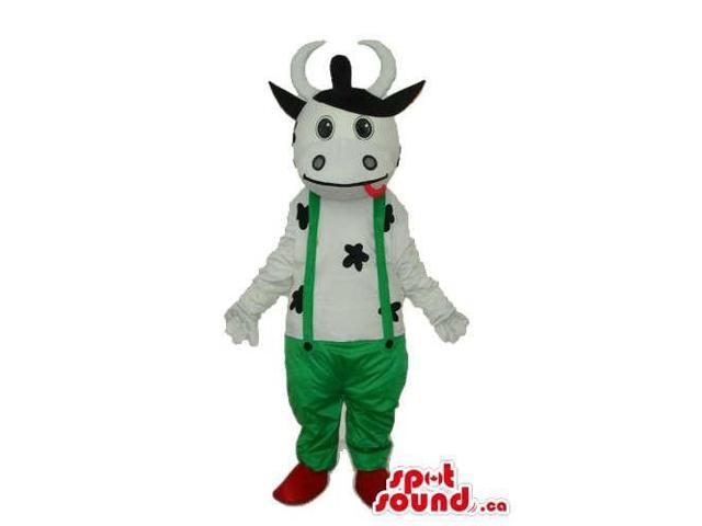 Cute Cow Animal Plush Canadian SpotSound Mascot Dressed In Green Overalls