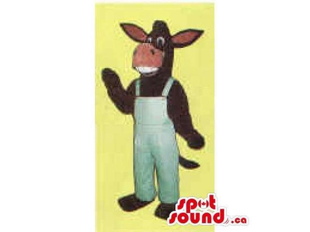 Brown Plush Donkey Canadian SpotSound Mascot With Large Teeth Dressed In Overalls