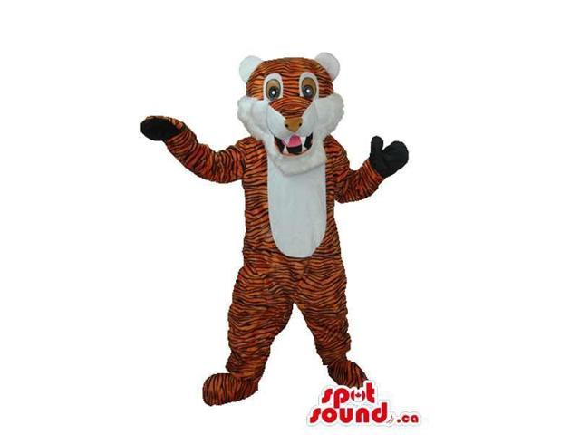 Cute Orange Tiger Plush Canadian SpotSound Mascot With A White Belly And Ears