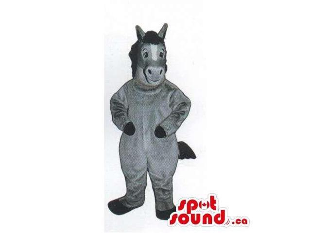 Customised All Grey Plush Donkey Canadian SpotSound Mascot With A Black Tail