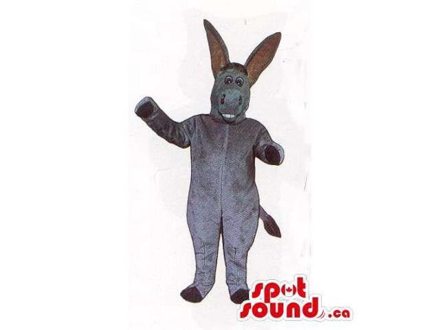 Customised All Grey Plush Donkey Canadian SpotSound Mascot With Really Long Ears
