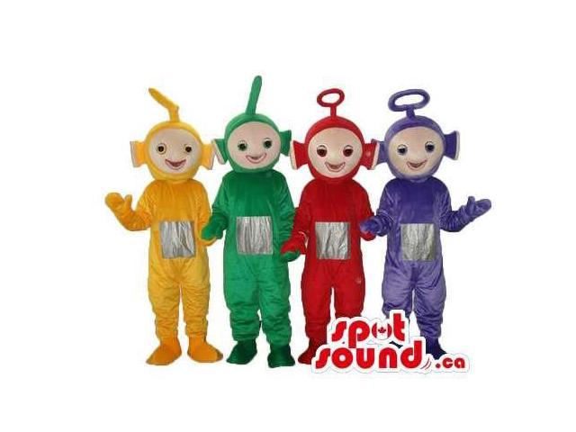 Five Well-Known Teletubbies Plush Canadian SpotSound Mascots In Four Colors