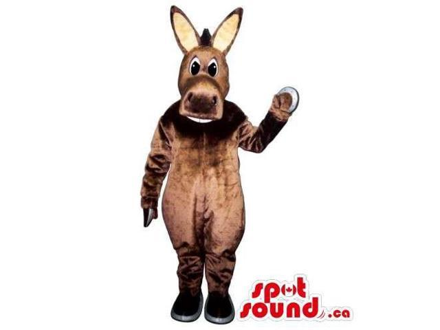 All Brown Cute Brown Plush Donkey Canadian SpotSound Mascot With Long Beige Ears